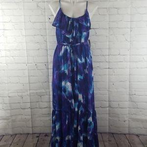 NWT Bisou Bisou blue and purple maxi dress size 14